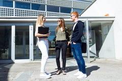 Groep gelukkige jonge studenten die op een universiteit spreken Stock Afbeelding