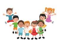 Groep gelukkige jongens en meisjesbeeldverhaaljonge geitjes Stock Afbeeldingen