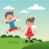 Groep gelukkige jongens en meisjesbeeldverhaaljonge geitjes Royalty-vrije Stock Foto