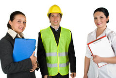Groep gelukkige mensenarbeiders Stock Afbeelding