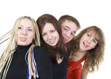 Groep gelukkige vrienden Stock Afbeeldingen
