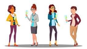 Groep Gelukkige Vrouwen met Glazen van Champagne In Hands Vector Illustratie stock illustratie