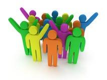 Groep gestileerde gekleurde mensentribune op wit Stock Foto