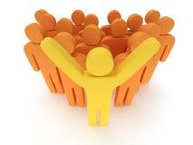 Groep gestileerde oranje mensen met teamleader Stock Afbeelding