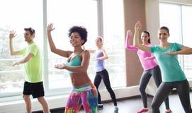 Groep glimlachende mensen die in gymnastiek of studio dansen Royalty-vrije Stock Afbeelding