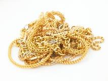 Groep gouden kettingen stock afbeeldingen