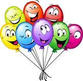 Groep grappige kleurrijke ballons Stock Foto's