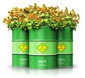 Groep groene die biofuel trommels met zonnebloemen op witte B wordt geïsoleerd vector illustratie
