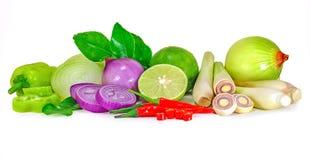 Groep groente op wit wordt geïsoleerd dat stock afbeelding