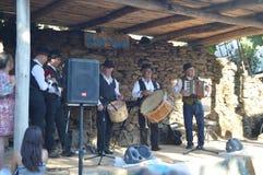 Groep Harmonika, Doedelzak en Trommel in de Partij van de Doedelzak in Quinta De Cancelada royalty-vrije stock foto's