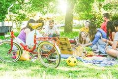 Groep heel wat mensen die een smakelijke picknick hebben die en rode wijn in een park eet drinkt openlucht stock afbeelding