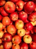 Groep heerlijke rode appelen stock afbeelding