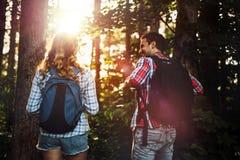 Groep het backpacking van wandelaars die voor bostrekking gaan Royalty-vrije Stock Afbeelding