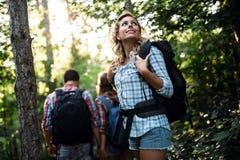 Groep het backpacking van wandelaars die voor bostrekking gaan Royalty-vrije Stock Foto's