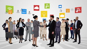 Groep het bedrijfsmensen samenkomen royalty-vrije illustratie