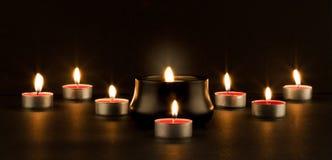 Groep het branden van kaarsen Stock Foto