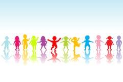 Groep het gekleurde kinderen spelen Stock Fotografie