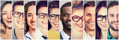 Groep het multiculturele van mensenmannen en vrouwen glimlachen royalty-vrije stock foto's