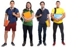Groep het onderwijsjongeren van de studentenstudie die op wit worden geïsoleerd royalty-vrije stock foto