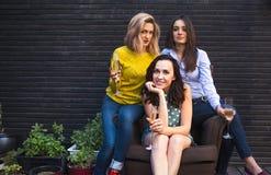 Groep het partying van meisjes met fluiten met mousserende wijn die F hebben stock afbeeldingen