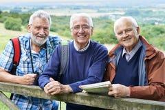 Groep Hogere Mannelijke Vrienden die in Platteland wandelen stock foto's