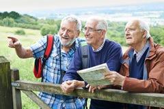 Groep Hogere Mannelijke Vrienden die in Platteland wandelen stock afbeeldingen