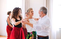 Groep hogere mensen in dansende klasse met dansleraar stock foto