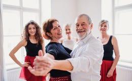 Groep hogere mensen in dansende klasse met dansleraar stock afbeeldingen