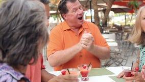 Groep Hogere Vrienden die van Cocktails in Bar samen genieten stock video
