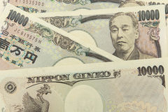 Groep Japans bankbiljet 10000 Yenachtergrond royalty-vrije stock foto's