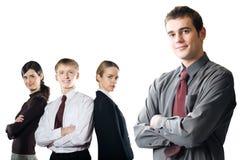 Groep jonge bedrijfsmensen die op wit worden geïsoleerdo royalty-vrije stock afbeeldingen