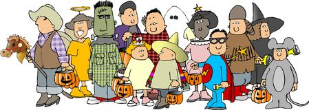 Groep jonge geitjes 3 van Halloween stock illustratie