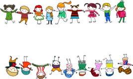 Groep jonge geitjes met lege teken of banner stock illustratie