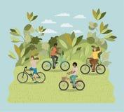Groep jonge mensen in fiets op park vector illustratie