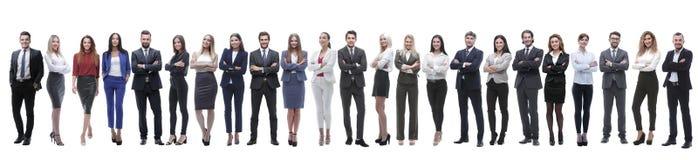 Groep jonge ondernemers die zich op een rij bevinden royalty-vrije stock foto