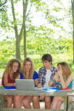 Groep jonge student die openlucht laptop met behulp van royalty-vrije stock foto's