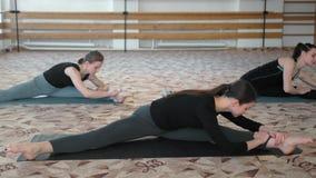 Groep jonge vrouwen die yoga het uitrekken in de geschiktheidsklasse maken zich stock footage