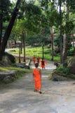 Groep jonge zuidoostaziatische boeddhistische monnikengang in tempelpark Royalty-vrije Stock Foto
