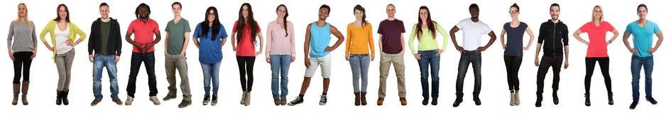 Groep jongeren die gelukkig multicultureel multi etnisch F glimlachen stock fotografie