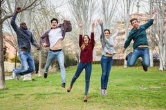 Groep jongeren die samen in openlucht springen stock afbeeldingen