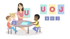 Groep kinderen die alfabet met leraar bestuderen vector illustratie