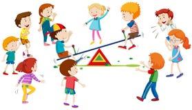 Groep kinderen die op geschommel spelen royalty-vrije illustratie
