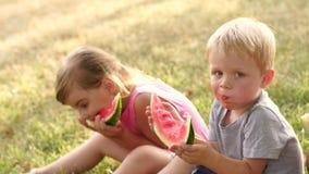 Groep kinderen die watermeloen in de zomerpark eten stock video
