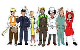 Groep Kinderen in Dromen Job Uniform Stock Afbeeldingen