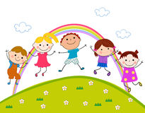 Groep kinderen het springen Stock Afbeeldingen