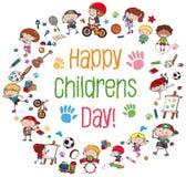 Groep kinderen met banner vector illustratie