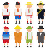 Groep kinderen in nationale kostuums Stock Foto