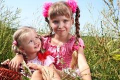 Groep kindmeisje in groen gras. Stock Afbeeldingen