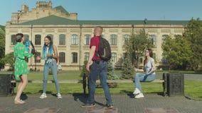 Groep klasgenoten die student in park intimideren stock footage