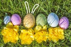 Groep kleurrijke eieren op gras met bloemen Royalty-vrije Stock Foto's